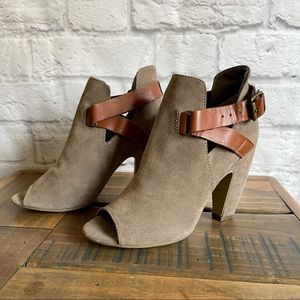 STEVE MADDEN Taupe Peep Toe Booties with straps Leather Suede